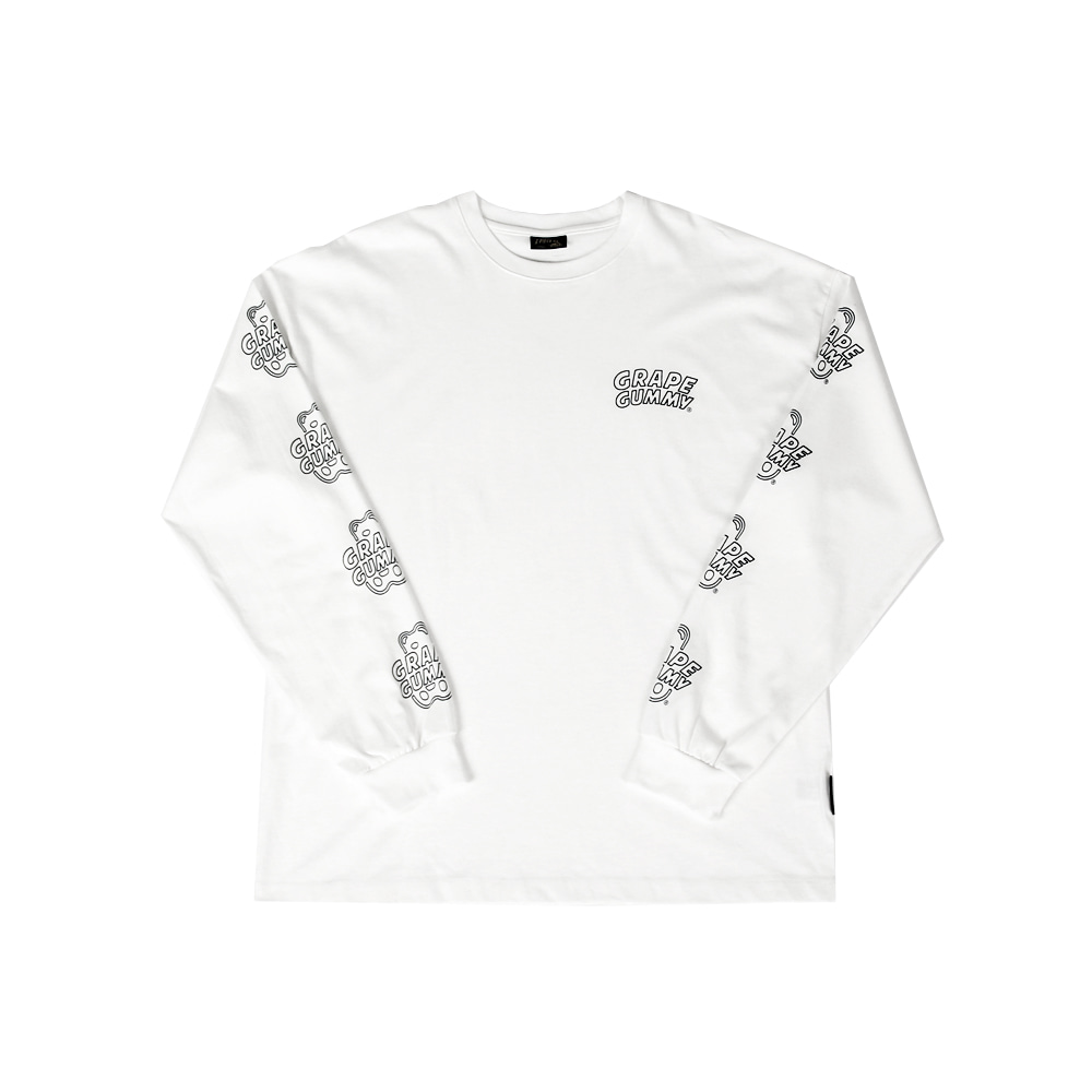 Grape Gummy Multi-Logo Longsleeve_White