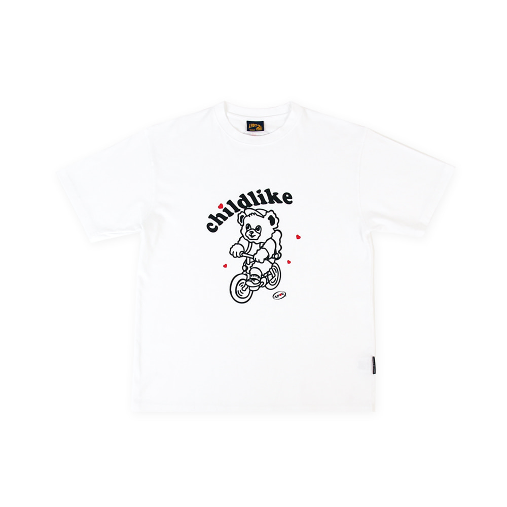 Bicycle Bear 1/2 T-shirts_White