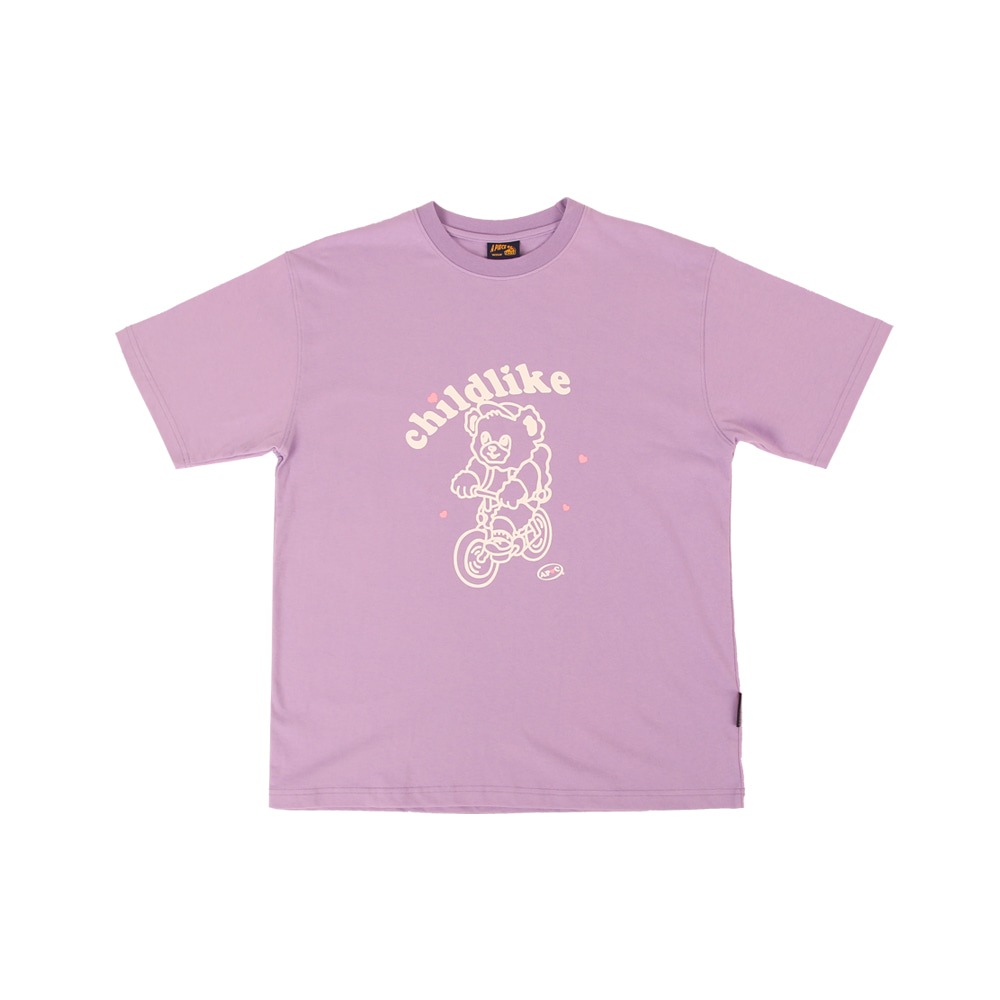Bicycle Bear 1/2 T-shirts_Violet