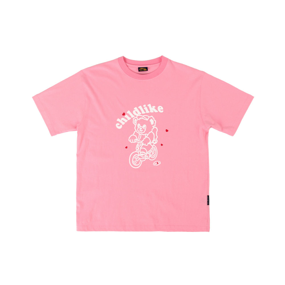 Bicycle Bear 1/2 T-shirts_Pink