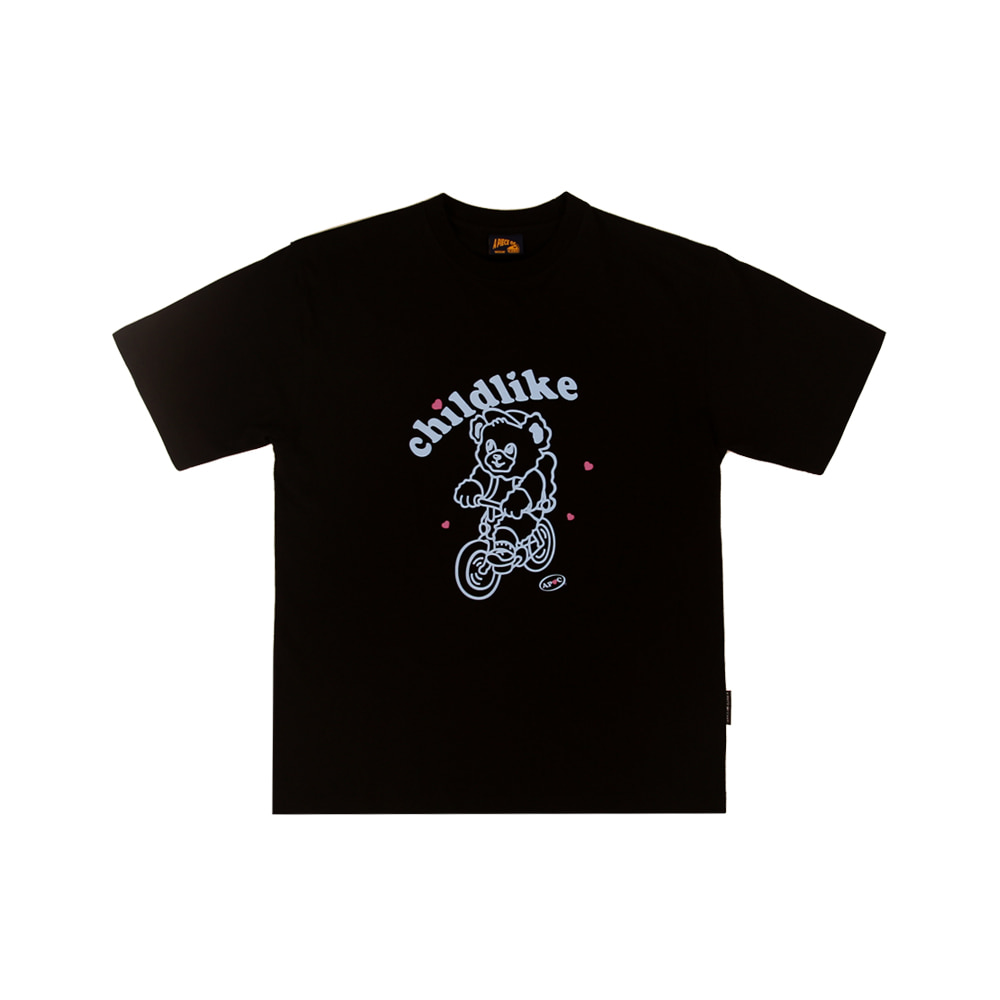 Bicycle Bear 1/2 T-shirts_Black