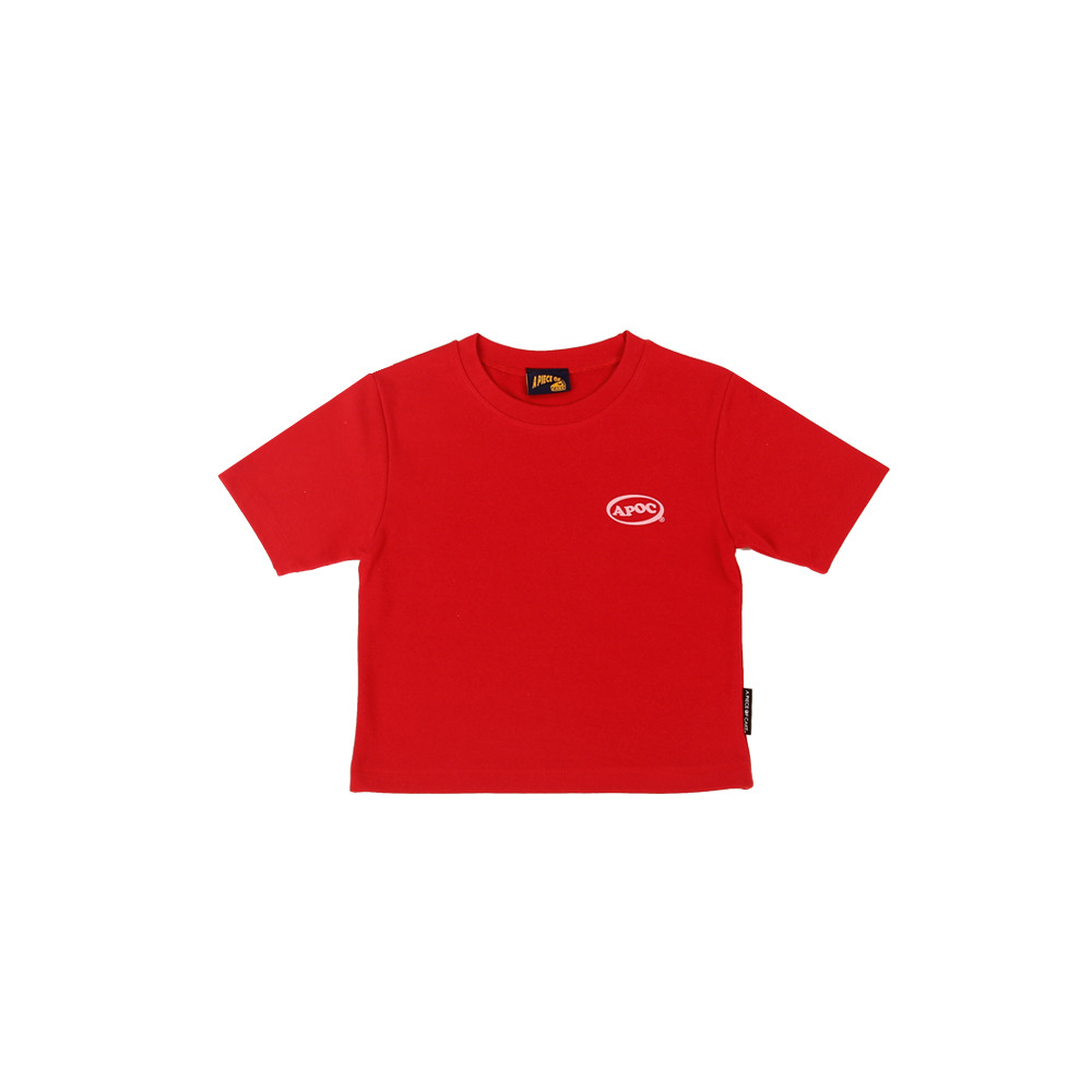 Oval Logo Crop Top_Red