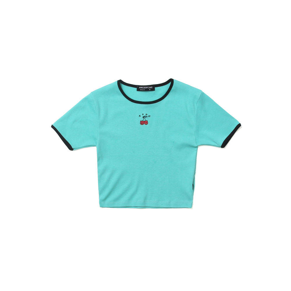 Cherry Bear Crop Top_Mint
