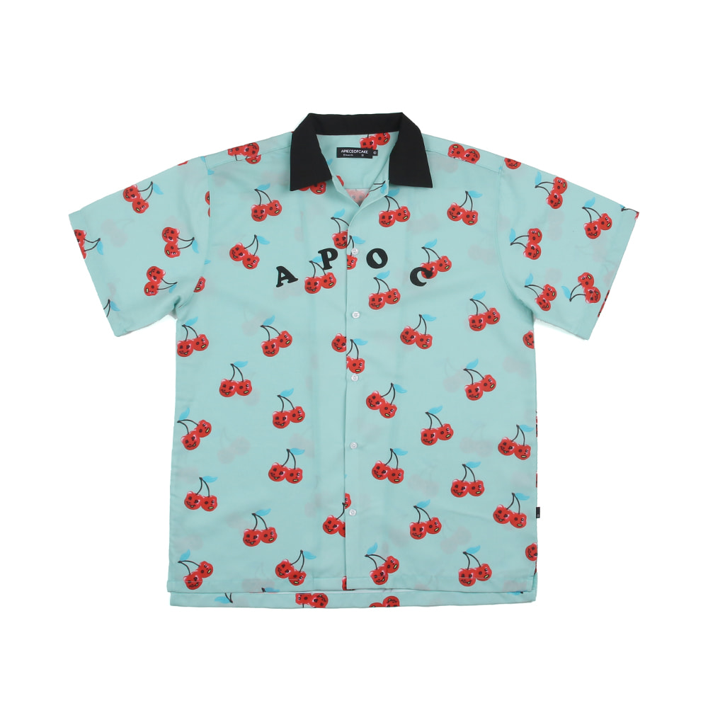 Cherry Bear Hawaiian shirts_Skyblue