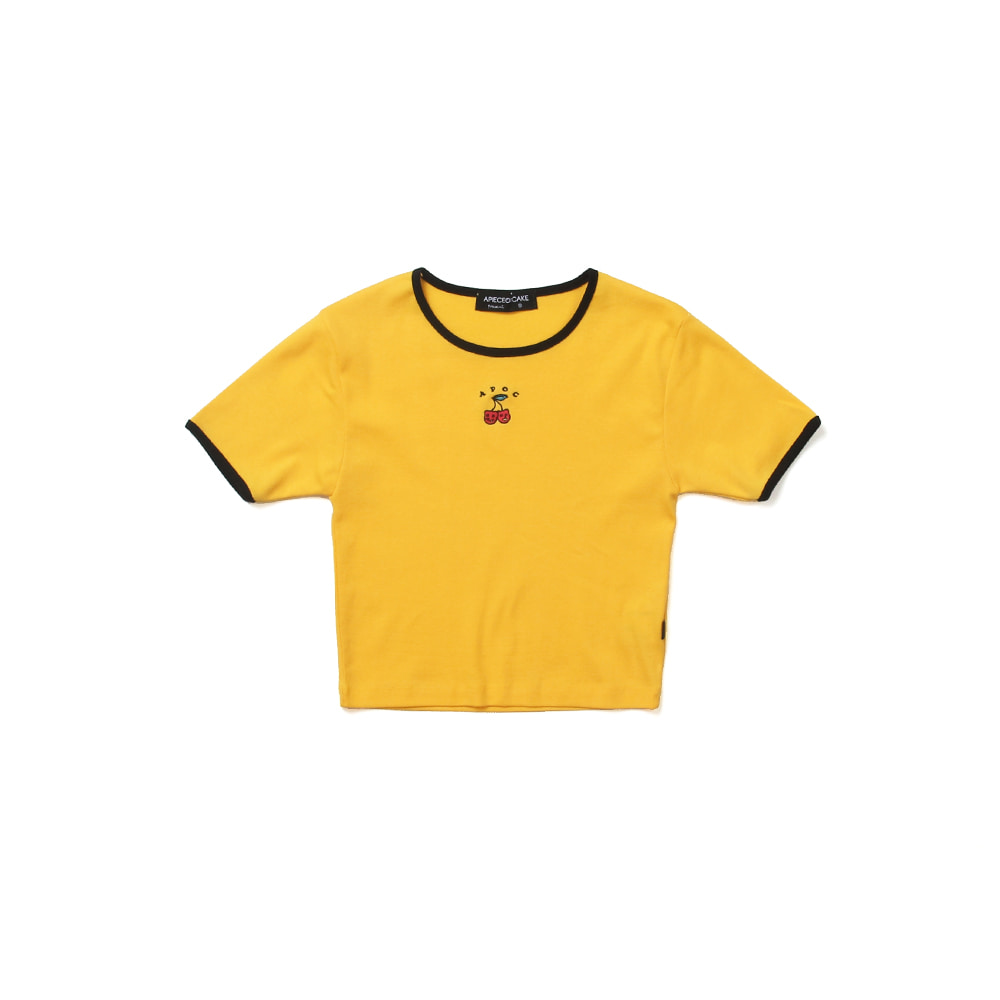 Cherry Bear Crop Top_Yellow