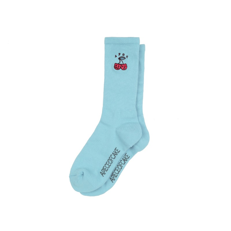 Cherry Bear Socks_Light Blue
