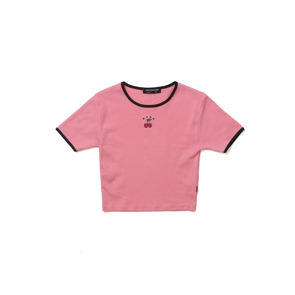 Cherry Bear Crop Top_Pink