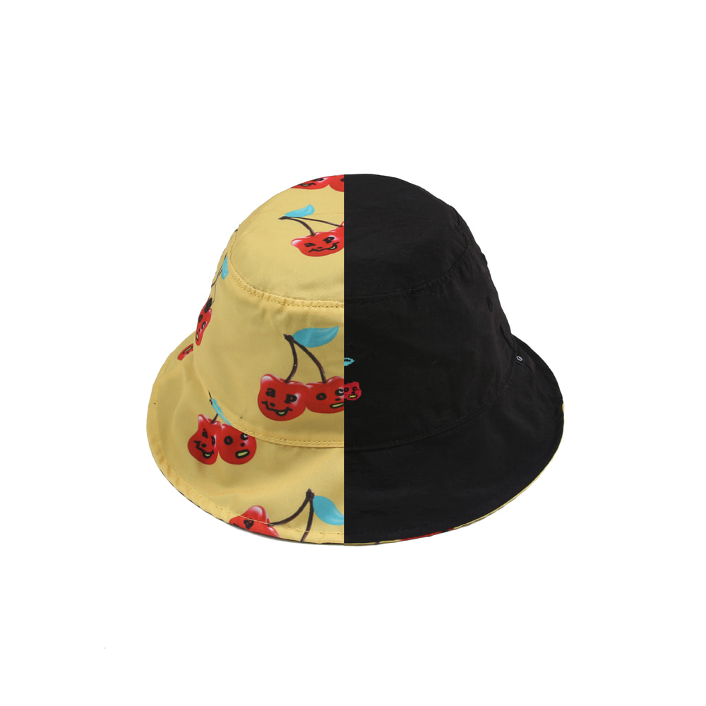 Cherry Bear Reversible Bucket Hat_Black