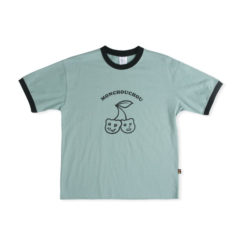 Cherry Bear T-shirt_Ash Mint