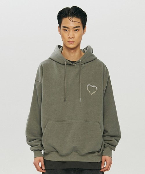 Heart Logo Pigment Hoodie_Olive